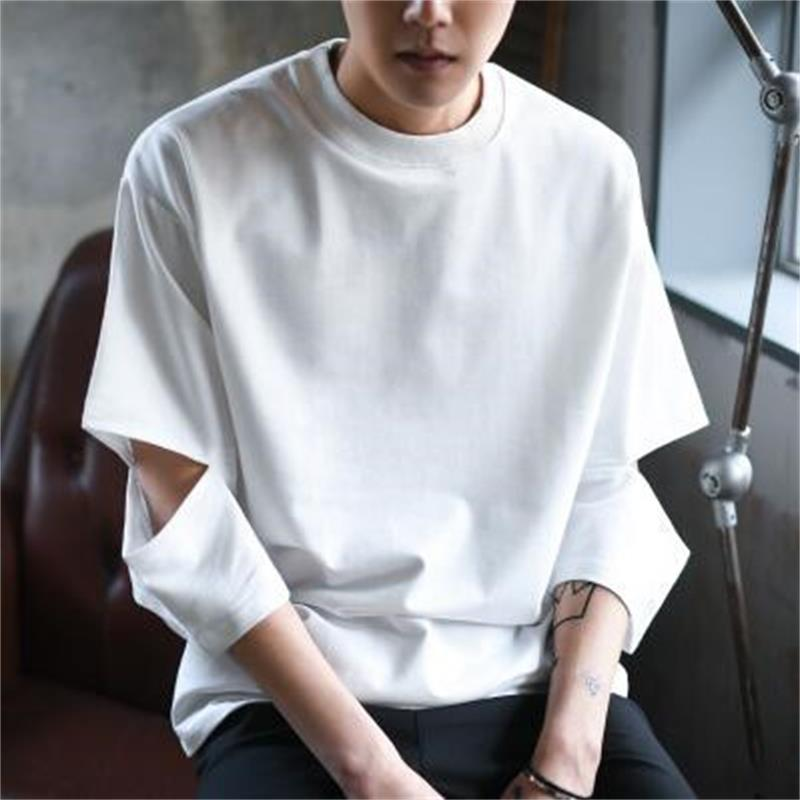 Summer Korean Fashion Half Sleeve Round Neck Men T-shirt Streetwear Casual Loose Solid Color Homme Tshirts