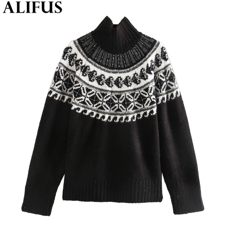 Fashion Za Women Sweaters 2019 Winter Woman Turtleneck Sweater Jacquard Casual Long Sleeve Knitting Pullovers Jumper Ladies Top