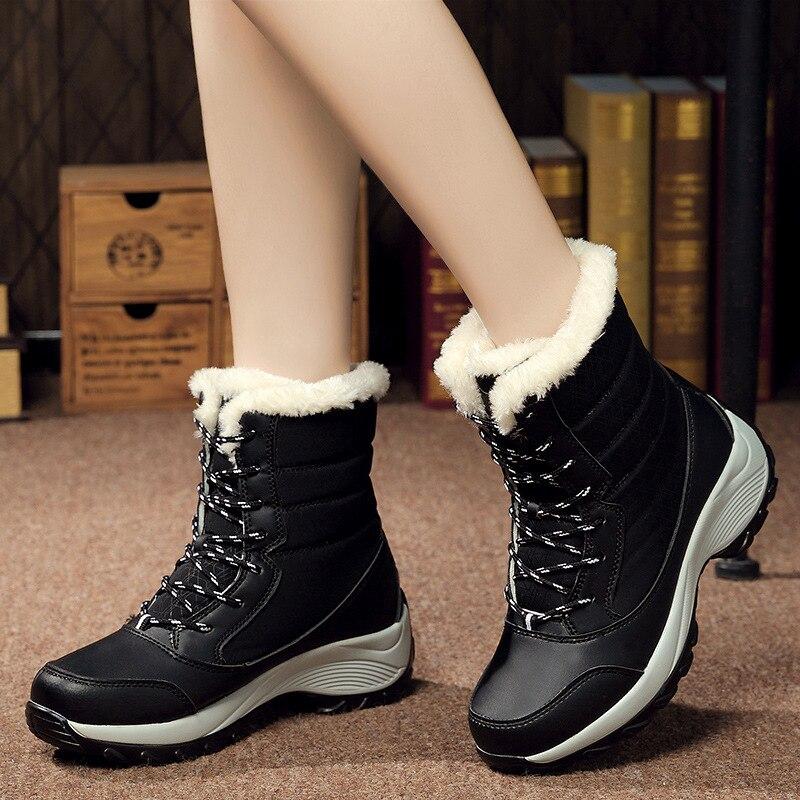 Winter Shoes Women Boots Plus Size 42 Waterproof Platform Boots For Women Snow Boots Women Winter 2019 Botas Mujer Black White