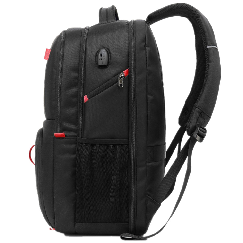 Image 3 - POSO Backpack 17.3 Inch USB Laptop Backpack Nylon Waterproof Backpack Anti Theft Travel Bag Multi function Stundet Backpack-in Backpacks from Luggage & Bags