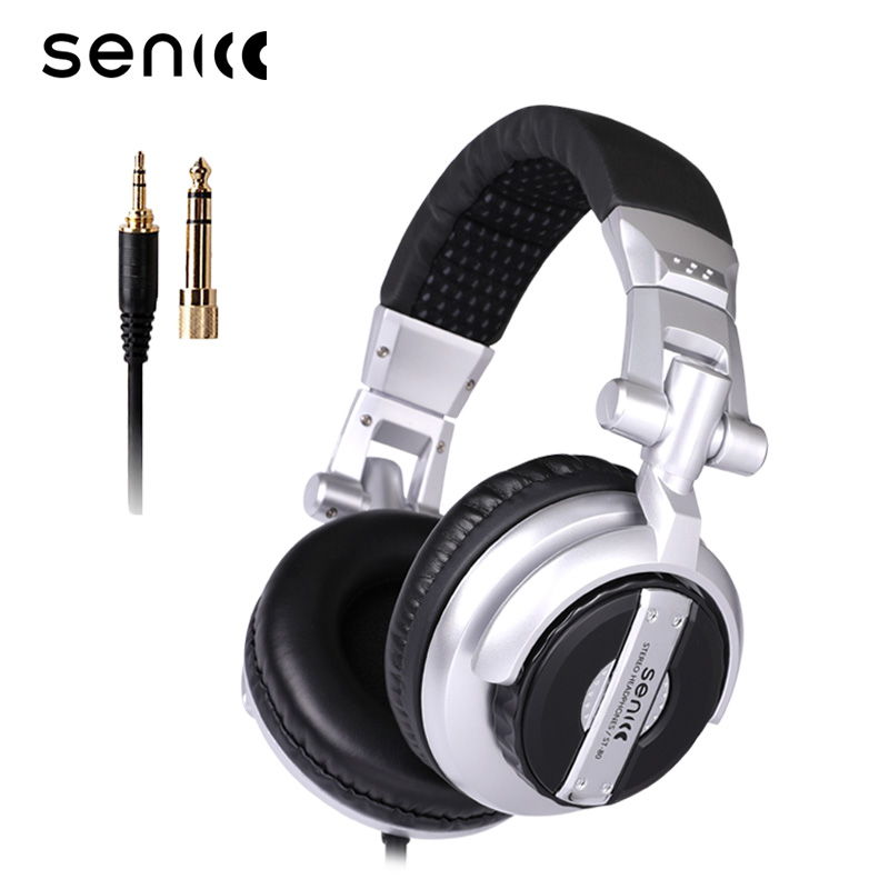 SENICC ST-80 Professional DJ Studio Monitor Headphones Stereo Portable Headset With 3.5mm 6.3mm Jack 50mm Dirver Extended Cord