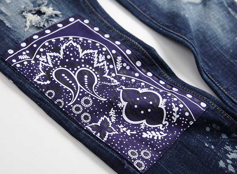 KIOVNO Fashion Men Ripped Distressed Denim Trousers Punk Style Badge Patchwork Jeans Pants Male Streetwear Straight (2)