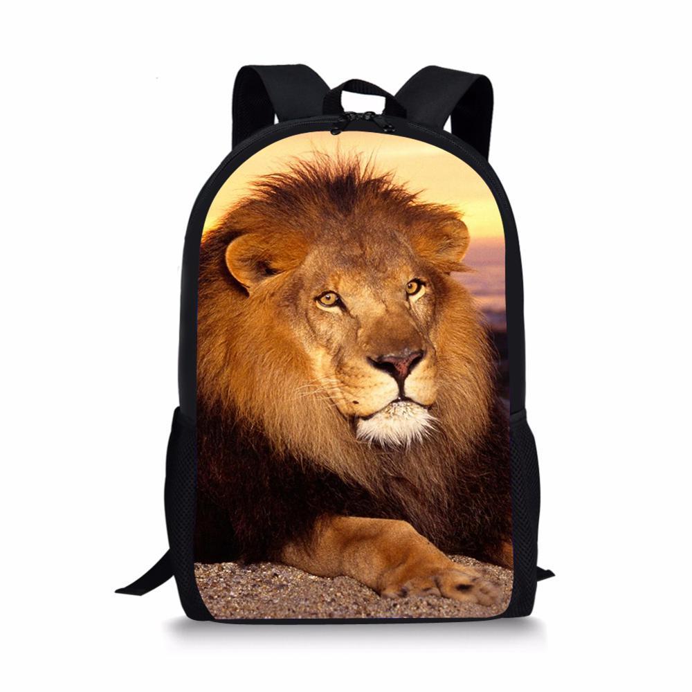 Sac d'école de mode avec Animal Lion 3D impression Sac à Dos adolescente Sac A Dos lLe Roi Lion hommes cartable étudiants sacs à Dos
