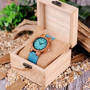 Image 5 - ボボ鳥女性男性腕時計ブルーレザーストラップカップルクォーツ腕時計愛好家のギフト時計木製腕時計ボックスドロップシップリロイhombre
