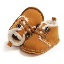 2020 новинка мода однотонная шнуровка детские ботинки завязки для осень% 2FЗима детская обувь для теплая детская бархат плюшевые сапоги обувь 0-18 мес.