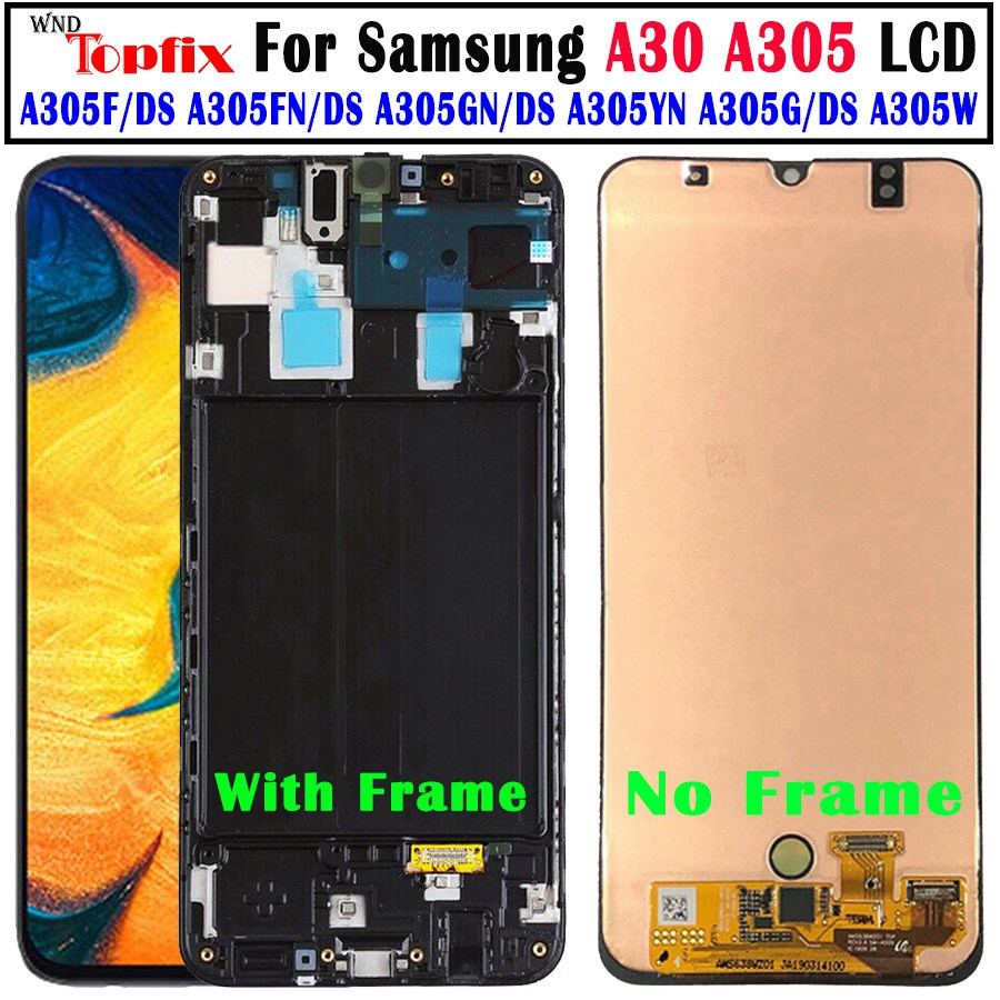 For <font><b>Samsung</b></font> <font><b>galaxy</b></font> <font><b>A30</b></font> <font><b>LCD</b></font> Digitizer A305/DS A305FD A305M Display Touch Screen With Frame Digitizer For <font><b>Samsung</b></font> <font><b>A30</b></font> <font><b>LCD</b></font> A305 <font><b>LCD</b></font> image