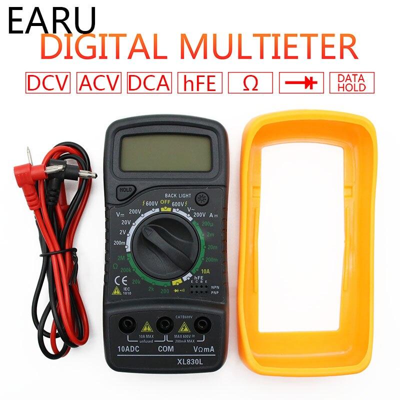 Portátil digital multímetro backlight ac/dc amperímetro voltímetro ohm tester medidor xl830l handheld lcd multimetro tensão atual