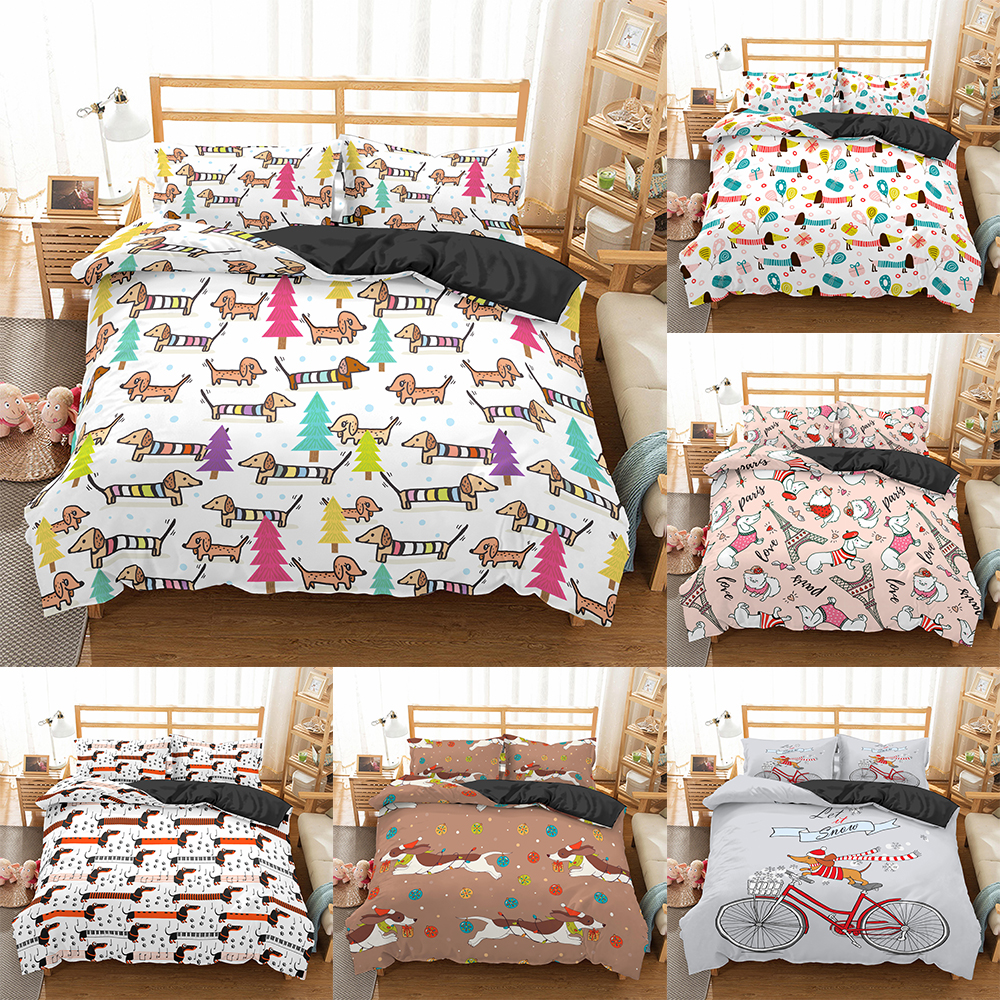 Dachshund Bedding Set High Quality Duvet Cover Cartoon Animal Comforter soft Twin Single Full Queen King Bed Linen image