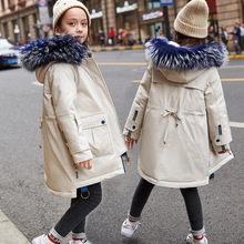 2019 New children's down jacket thickened medium big collar white duck velvet pure color girls winter down coat with hood цены онлайн