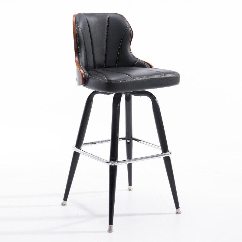 European Retro Bar Chair Retro Solid Wood Bar Chair Back Bar Chair Front Desk Chair Rotating Iron High Stool