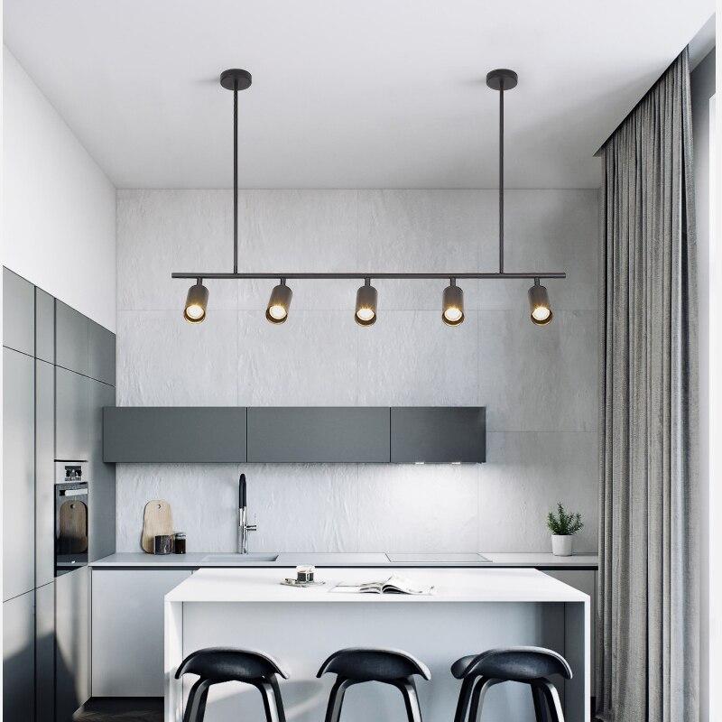 Long Chandelier LED Spot Lamp Kitchen Dining room Bedroom Bar Restaurant led salon lighting Black Gold Color hanging  Lamp Fixtu