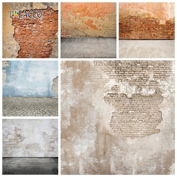 Laeacco Old Shabby Brick Wall Photography Backdrops Cement Photo Backgrounds Grunge Vintage Portrait Photophone Photocall