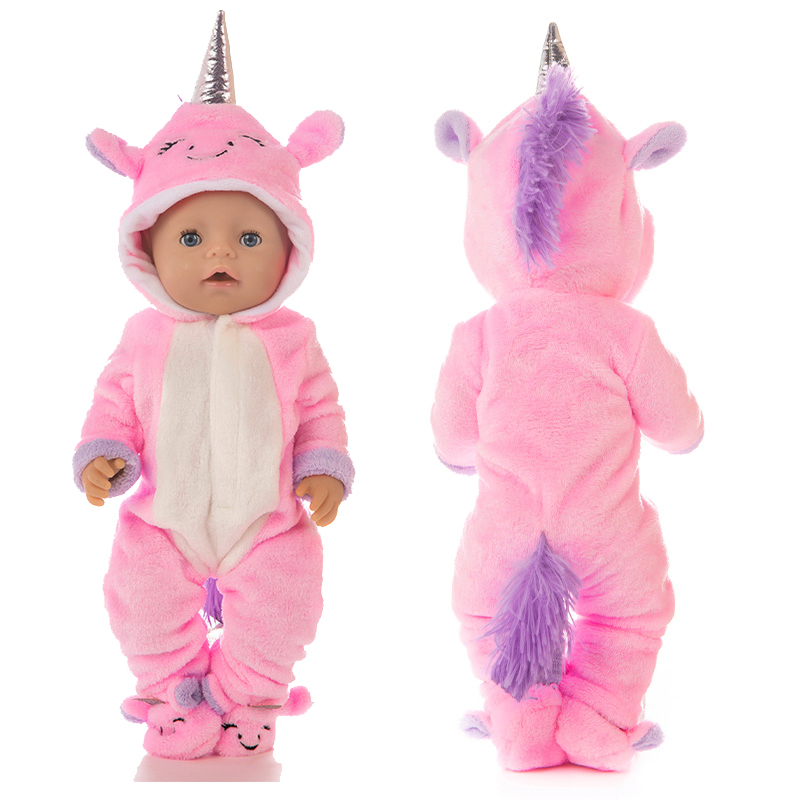 Baby Dolls Clothes 43cm 40cm Doll Cute Pajama Set For 18 Inch Girl Doll Animal Clothes Shoes Flip Flop
