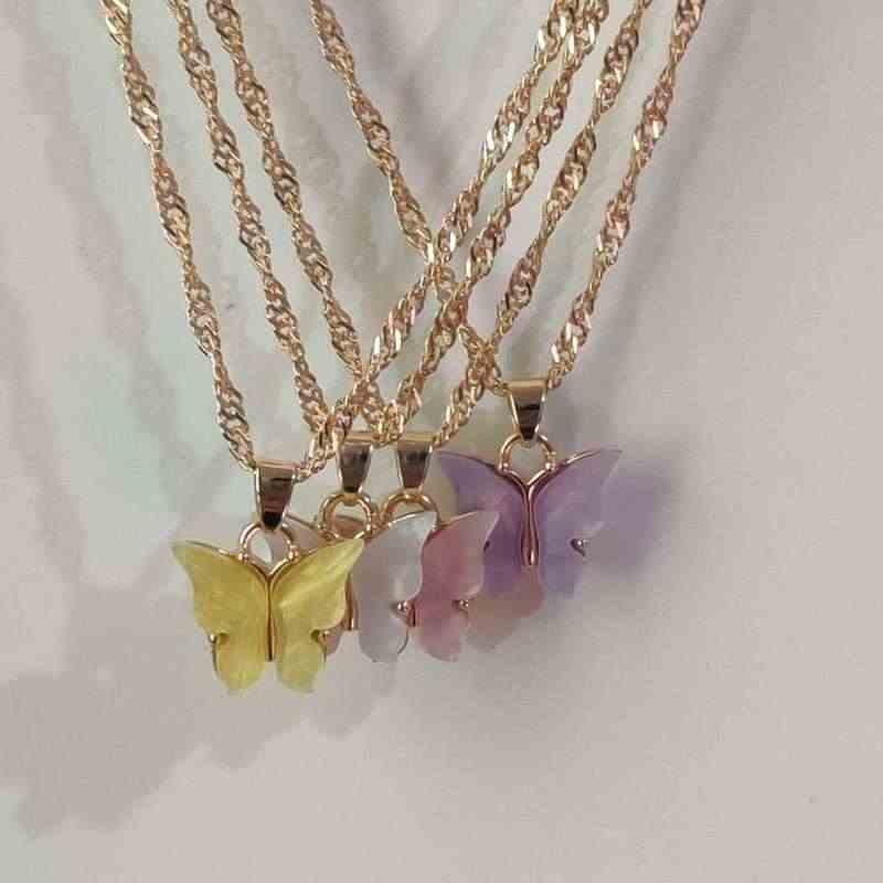 Korea Kupu-kupu Akrilik Kalung untuk Wanita Gadis Laporan 2020 Estetika Kalung Baru Trendi Lucu Boho Perhiasan Collier De Moda