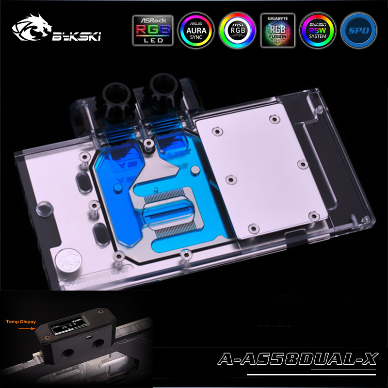 Bykski A-AS58DUAL-X VGA Full Cover Water Cooling Block With LED Light kit for ASUS <font><b>RX</b></font> <font><b>580</b></font> Dual OC 8G Card image