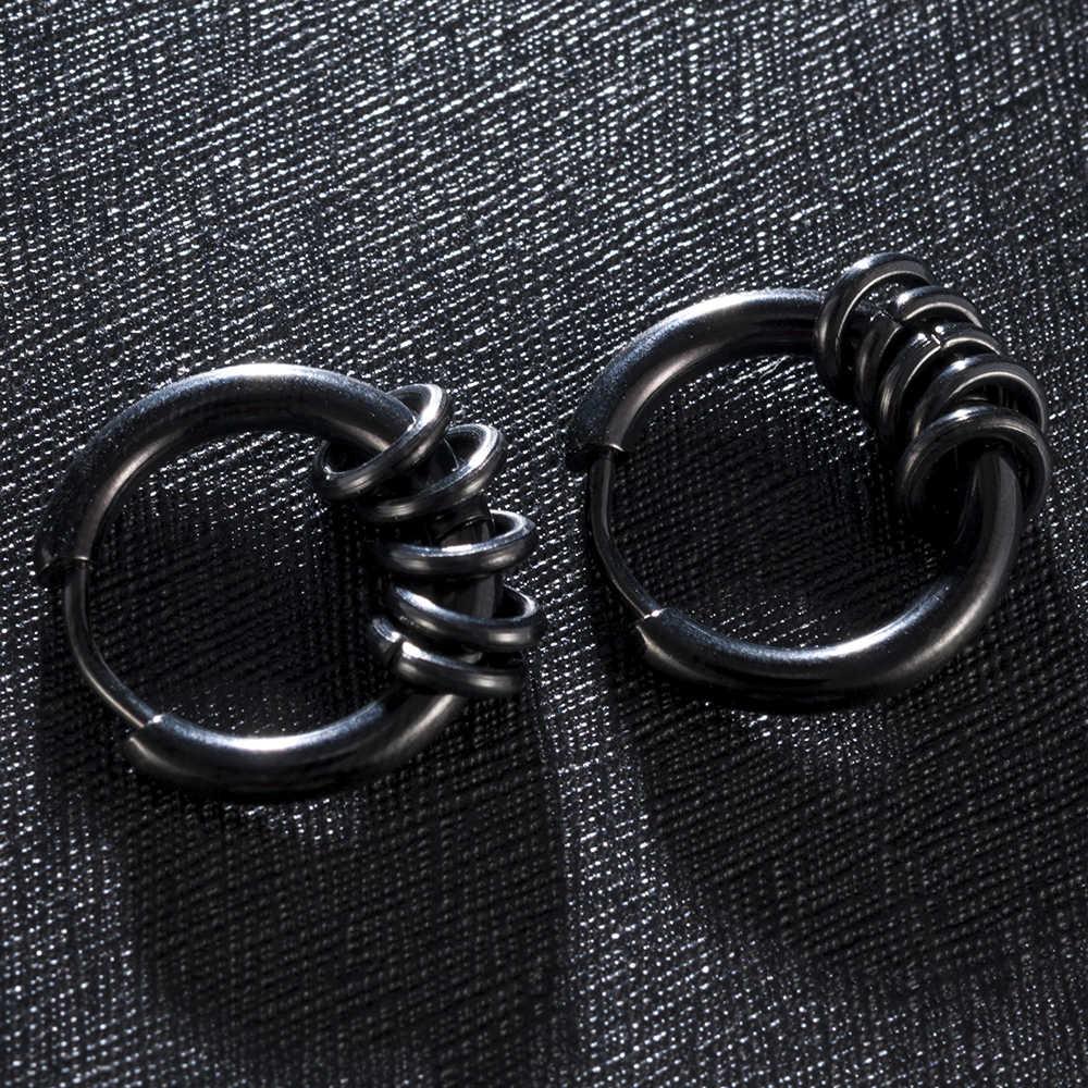 Moda Punk Acero inoxidable mujeres hombres cuentas redondas Cuff Clips pendientes góticos pendiente joyería