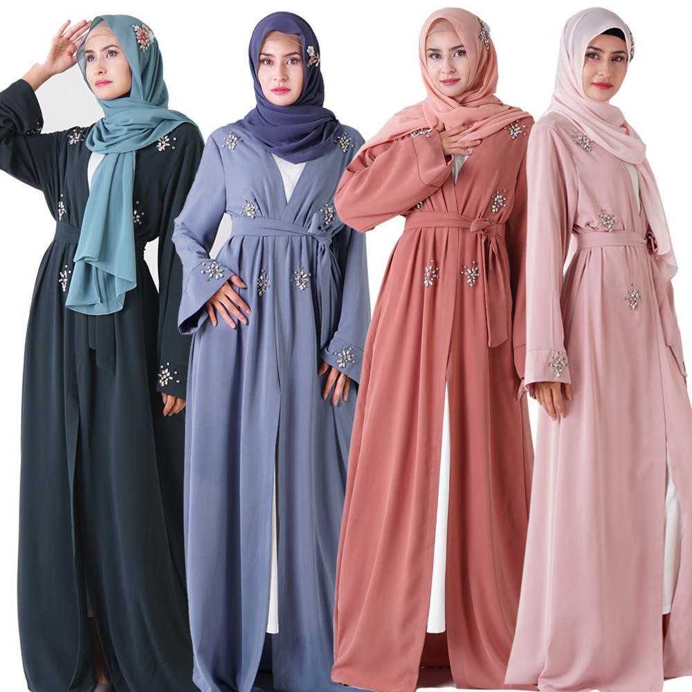 Queen Muslim Abaya Kimono Terbuka Abaya Gaun dengan Renda Dekorasi