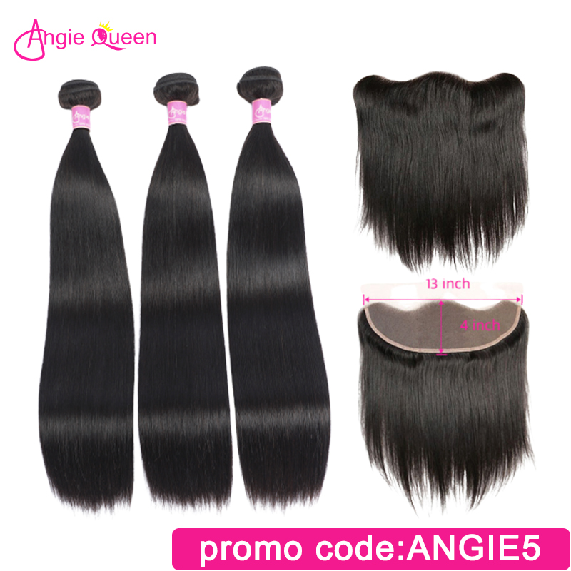 Straight Hair Bundles With Frontal Indian Hair Remy Hair Lace Frontal With 3 Pcs Hair Bundles 100% Human Hair Angie Queen