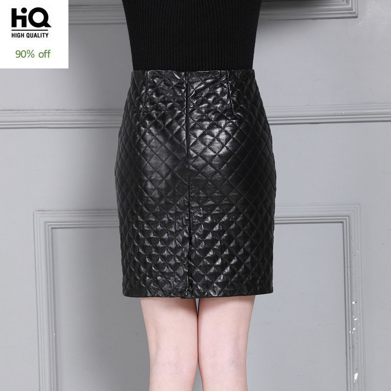Elegant Office Lady Sheepskin Wrap Skirt With High Waist Plaid Pattern Chic Solid Skirts Women Winter Zipper Real Leather Skirt