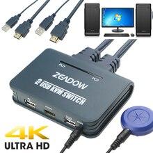 2 порта HDMI KVM переключатель клавиатура мышь разделитель коробка с HDMI и USB кабелями поддержка 4K × 2K @ 30 Гц для Linux, Windows, Mac