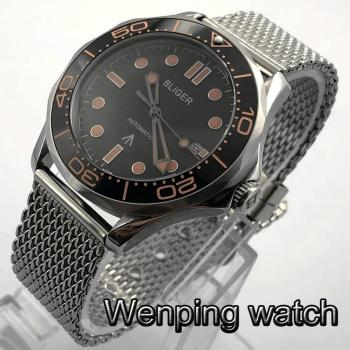 цена Bliger 41mm Men's Casual Luxury Automatic Watch Silver Case Sapphire Glass Ceramic Bezel Black Dial Date Luminous Men's Watch онлайн в 2017 году