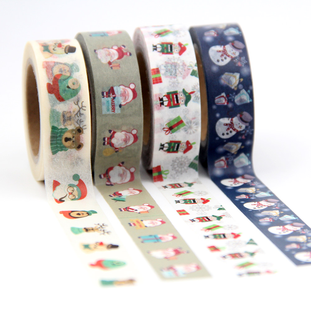 Купить с кэшбэком 1X Santa Claus Merry Christmas Decorative Postcard Washi Tape Adhesive Tape DIY Scrapbooking Sticker Label Masking Tape 10M