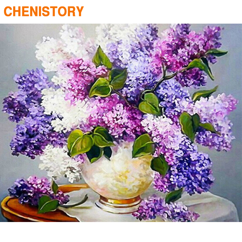 CHENISTORY Frame 60x75cm DIY Painting By Numbers Violet Flowers Kit Modern Wall Art Painting Canvas By Numbers Draw For Home Art