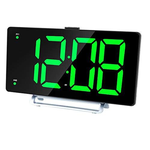 Large Alarm Clock 9 Inch LED Digital Display Dual Alarm with USB Charger Port 0-100 Dimmer for Seniors Simple Bedside Big Number