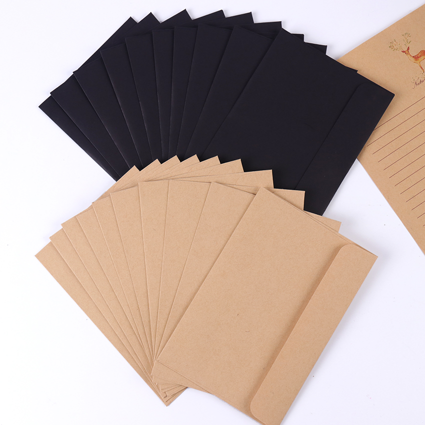 10Pcs/Pack 16cmx10.8cm Kraft Black Paper Envelope Message Card Letter Stationary Storage Paper Gift