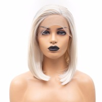 Rongduoyi Short Silk Straight Heat Resistant Synthetic Hair Lace Front Wigs For Black/white Women Cosplay Blonde Bob Wig