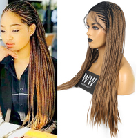 FANXITON Two Tone Braided Box Braids Wig Heat Resistant Fiber 24 Inch With Baby Hair Braided Synthetic Lace Front Wigs For Women
