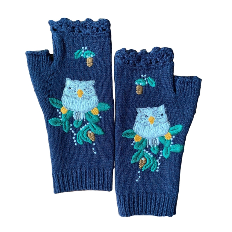 Winter Warm Gloves Fingerless Warm Gloves Hand Arm Warmer Half Finger Gloves Stretchy Knitted Owl Sapphire Blue