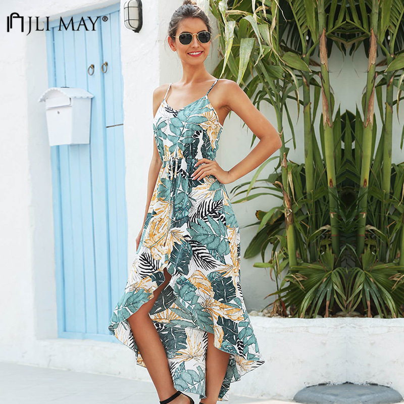JLI MAY Floral Print Bohemian Dress Summer Women Sweet Sleeveless Patchwork Ruffles Empire Slim Irregular Long Dress