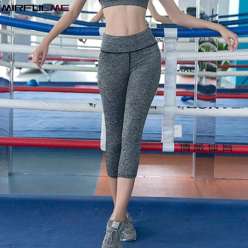 3//4 Women Mesh Capri Yoga Pants Gym Fitness Sports Cropped Leggings with Pockets