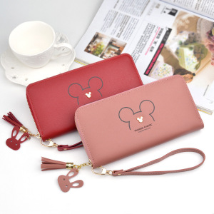 Disney Mickey mouse big cute wallet lady long zipper tassel key coin purse student small mini wallet Minnie card holder Clutch(China)