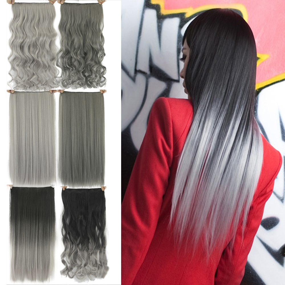 Soowee Black To Gray Ombre Curly Synthetic Hair Clip In Hair Extensions Hairpiece  Clip-in One Piece Hair Accessories For Women