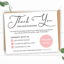 Business Thank You Card, Thank You For Your Business ,Custom Text Social Medial Card,Personalize Logo Business Name Card(China)