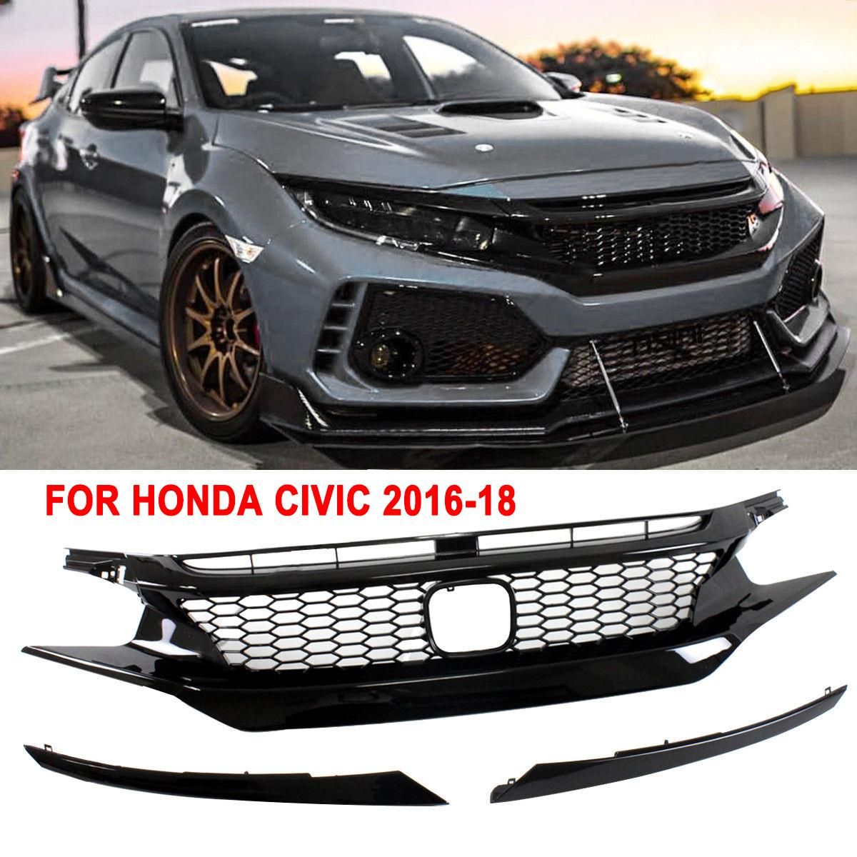 New Replacement Part For Honda For Civic 2016 2017 2018 2019 10th Gen JDM-CTR Style Glossy Black Mesh Front Hood Grille