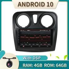 DDP 4 go RAM + 64 go ROM voiture Multimídia Auto Radio 1 Din Android 10 pour Renault Dacia Logan Sandero 2012 2013 2014 2015 2016 2017