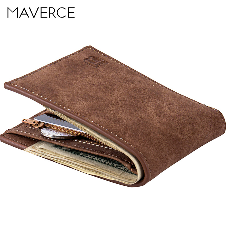 Men Wallet Retro Solid Leather Short Purse With Coin Pocket Card Holder Business Office Male Wallet Zipper Soft Light Design