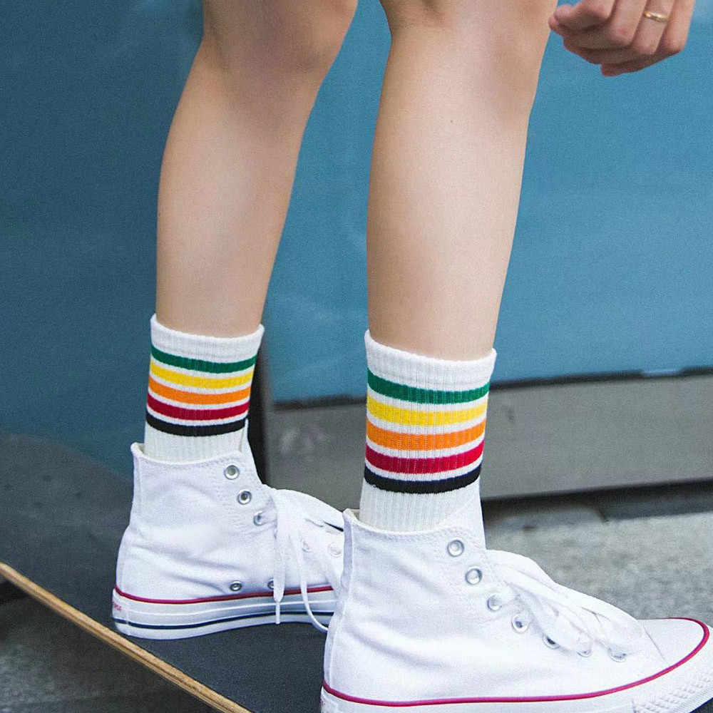 Women Socks Rainbow Color Strip Ladies Girls Cotton Warm Comfortable Breathable Socks Women Soft Funny Socks Calcetines Mujer