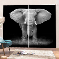 Elephant Curtains Animal Curtains Room Black Bathroom Curtains Comfortable Curtain Kitchen Curtains Waterproof Blackout Curtains