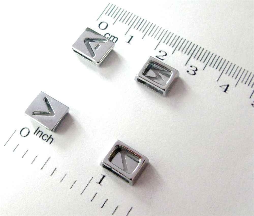 1pc A-Z Engels brief Alfabet Interne Dia: 8mm silver Plein Hollow Slide Brief charms Fit DIY sleutelhanger Armband Huisdier Kraag