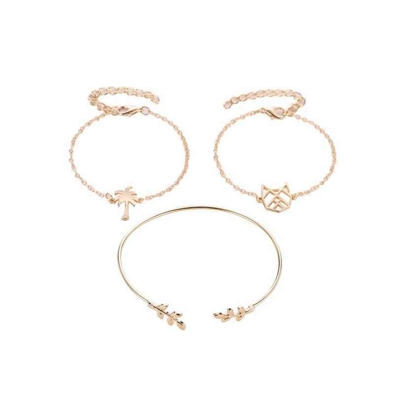 3 Peices Set Emas Warna Perak Kucing Daun Pohon Kelapa Rantai Tangan Adjustable Pembukaan Multilayer Gelang untuk Wanita