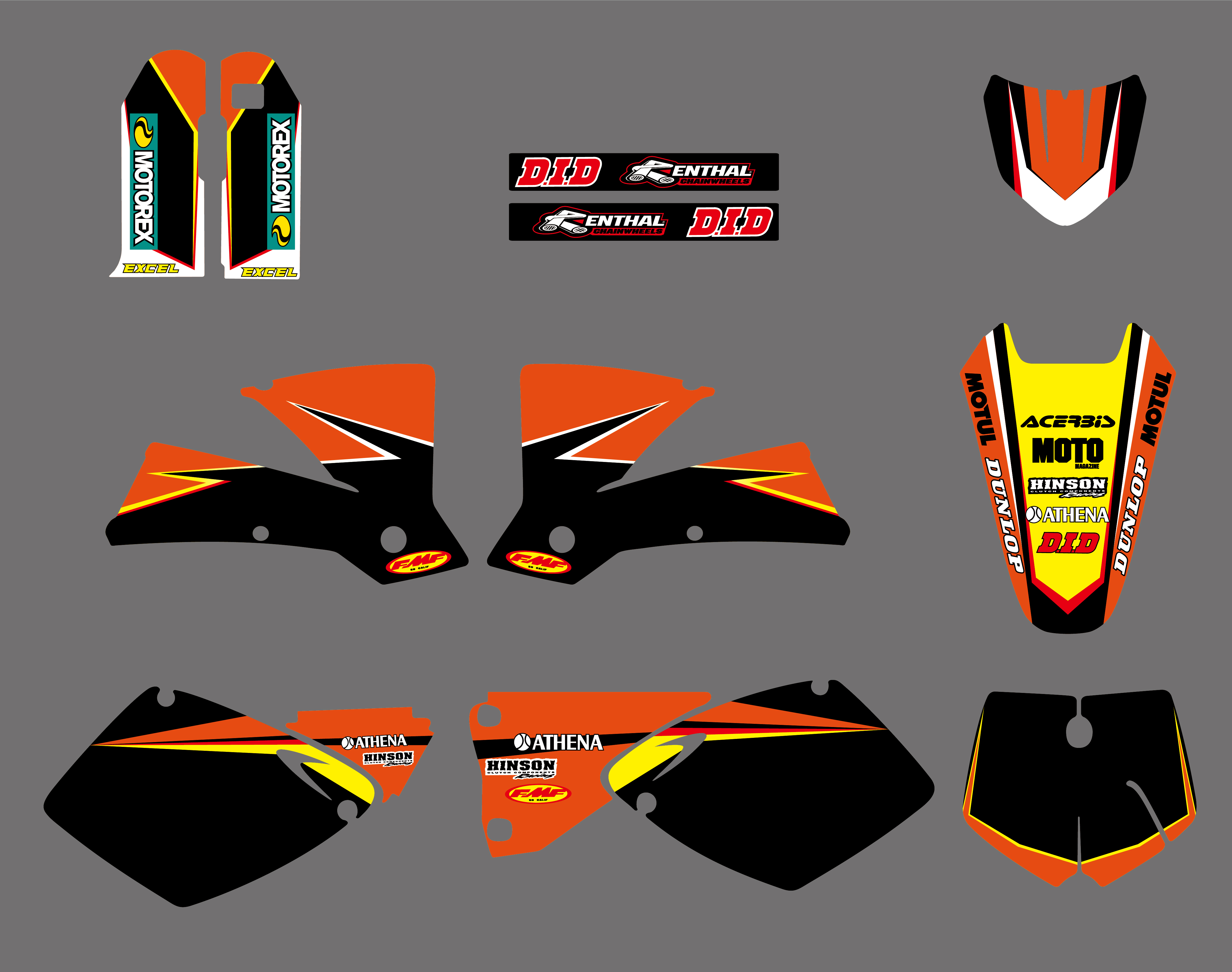 Motorcycle Team Graphics Sticker Decals Deco For <font><b>KTM</b></font> <font><b>SX</b></font> <font><b>125</b></font> 250 380 400 520 <font><b>2001</b></font> 2002 MXC 200 300 450 525 <font><b>SX</b></font> <font><b>125</b></font> <font><b>2001</b></font>-2003 image