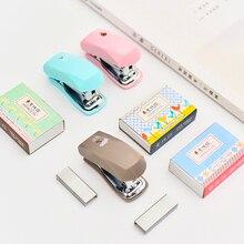 1 Pcs kawaii  Mini Stapler Set Cartoon Office School Supplies mini stapler color Staionery Paper Clip Binding Binder Book
