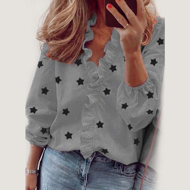 Star Printed Long Sleeve Ruffles Blouse Shirt 2020 New Fashion Female Clothing Casual Elegant White Blue Tops Plus Size S-3XL 5