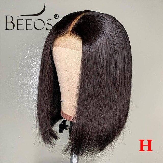 """Peluca de pelo humano frontal de encaje Beeos de alta proporción 13*4 pelo liso Bob 130% pelo Remy brasileño nudos blanqueados 8 """"-16"""""""