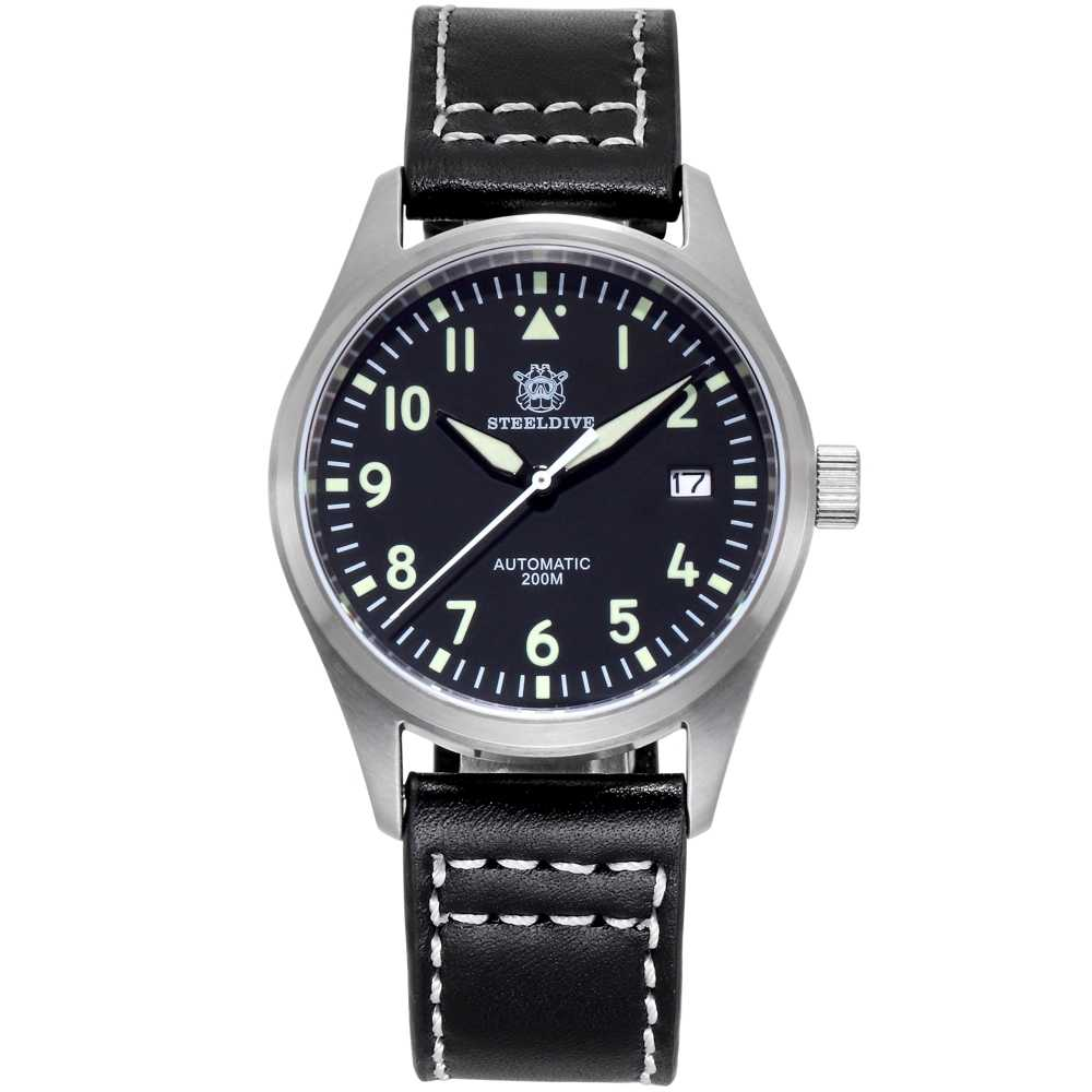 Steeldive Pria Pilot Watch Besi Tahan Karat Watch 200 M Tahan Air NH35 Gerakan Arloji Sapphire Glass 39 Mm