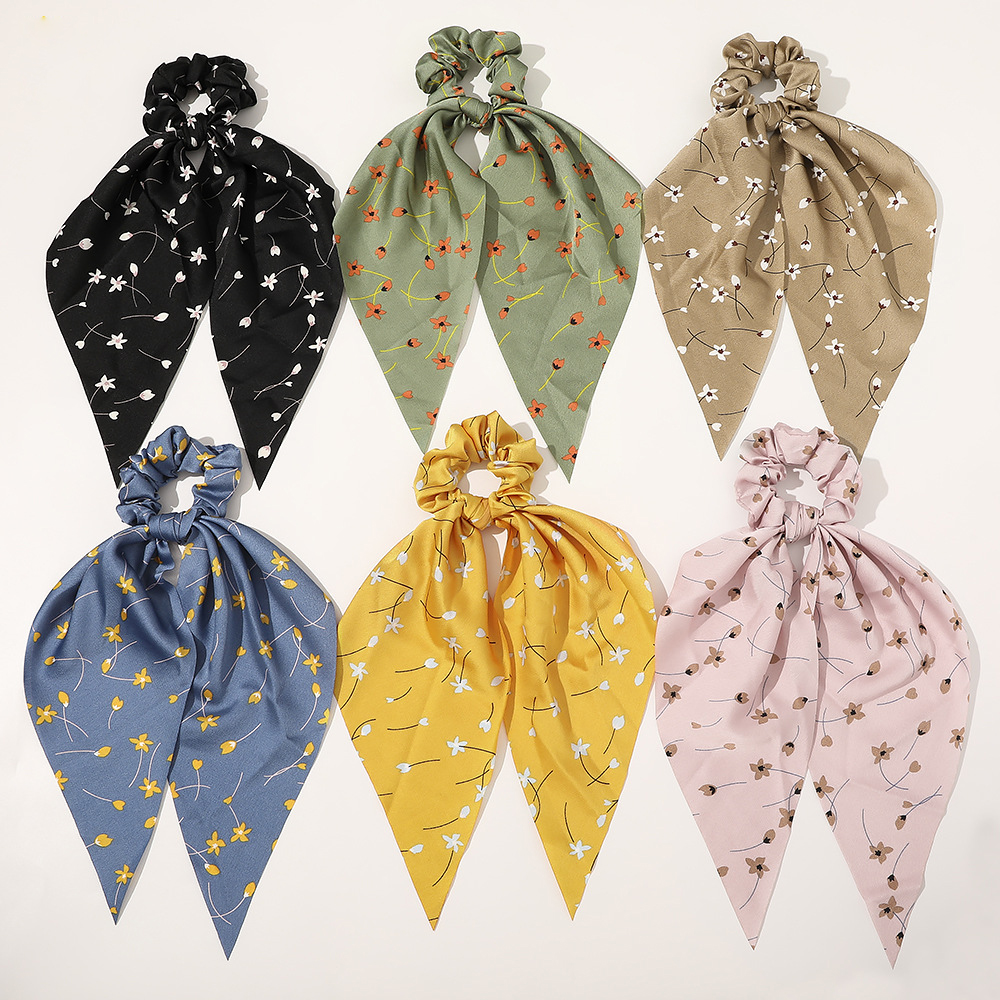 Leopard Floral Print Women Streamer Hair Scrunchie Striped Polka Dot Elastic Bow Hair Tie Rope For Girls Sweet Scrunchies Band